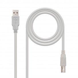 Cable USB 2.0 A a USB B GRIS 3m
