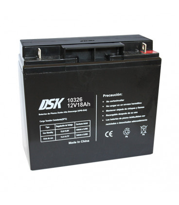 Bateria PLOMO 12Vdc 17Ah AGM medidas 181x77x167mm  DSK