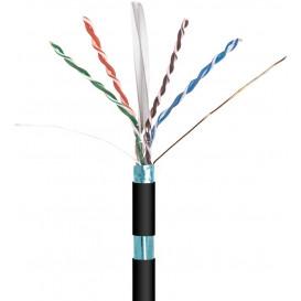 Bobina 305m Cable FTP Cat6 Rigido EXTERIOR CCA NEGRO