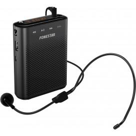 Amplificador Portatil 18W USB/microSD/MP3 con Microfono Diadema