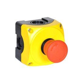 Caja Control Caja Amarilla Botón ROJO tipo Seta