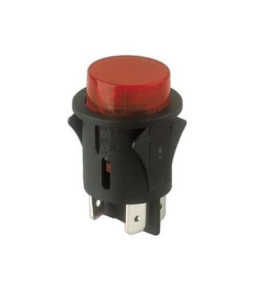 Pulsador Interruptor Luminiso ROJO 25mm