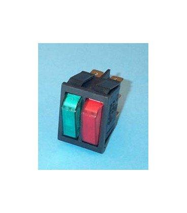 Interruptor Basculante Doble Bipolar Azul-Rojo 6