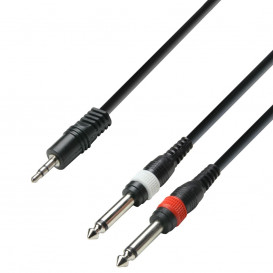 Cable JACK 3,5 ST Macho a 2 JACK 6,3 Mono Macho 3m